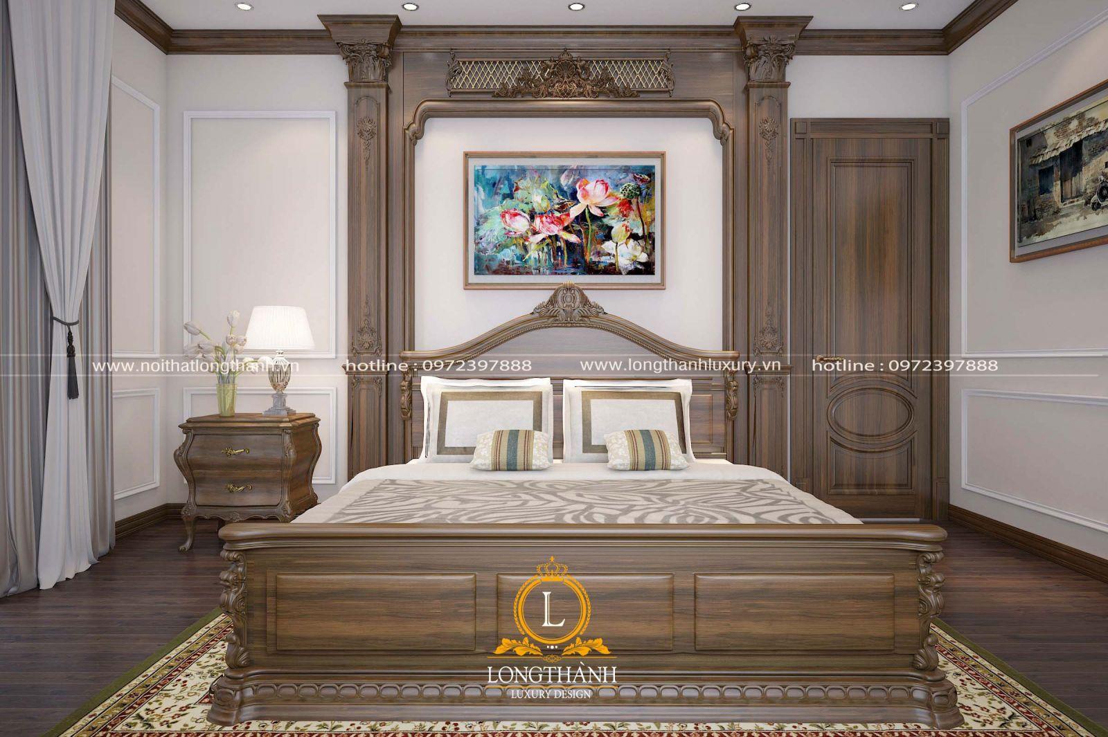 Phòng ngủ master tân cổ điển gỗ gõ đỏ