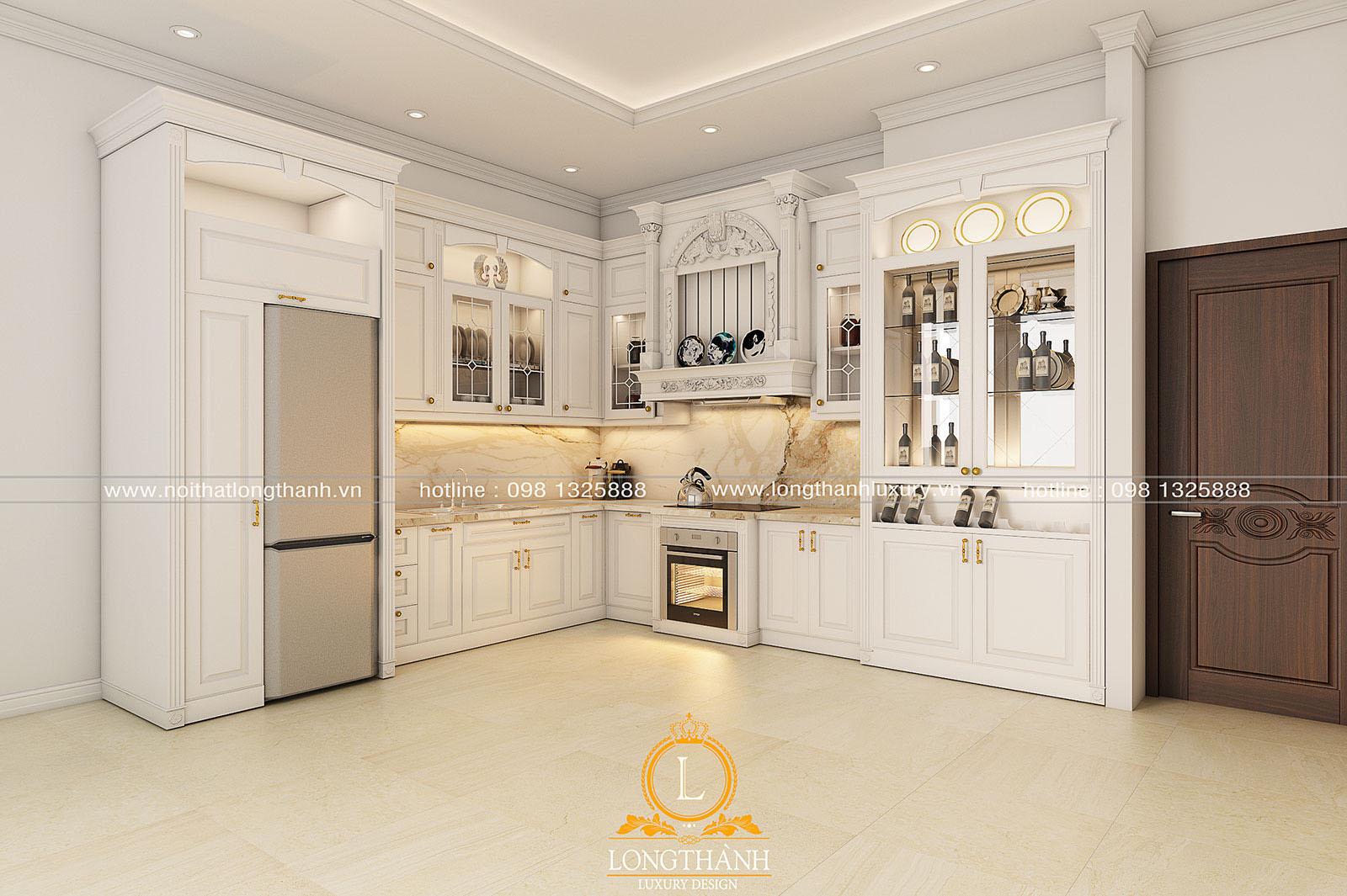 Tủ bếp gỗ tự nhiên sơn trắng đẹp LT 59 góc nhìn thứ 2