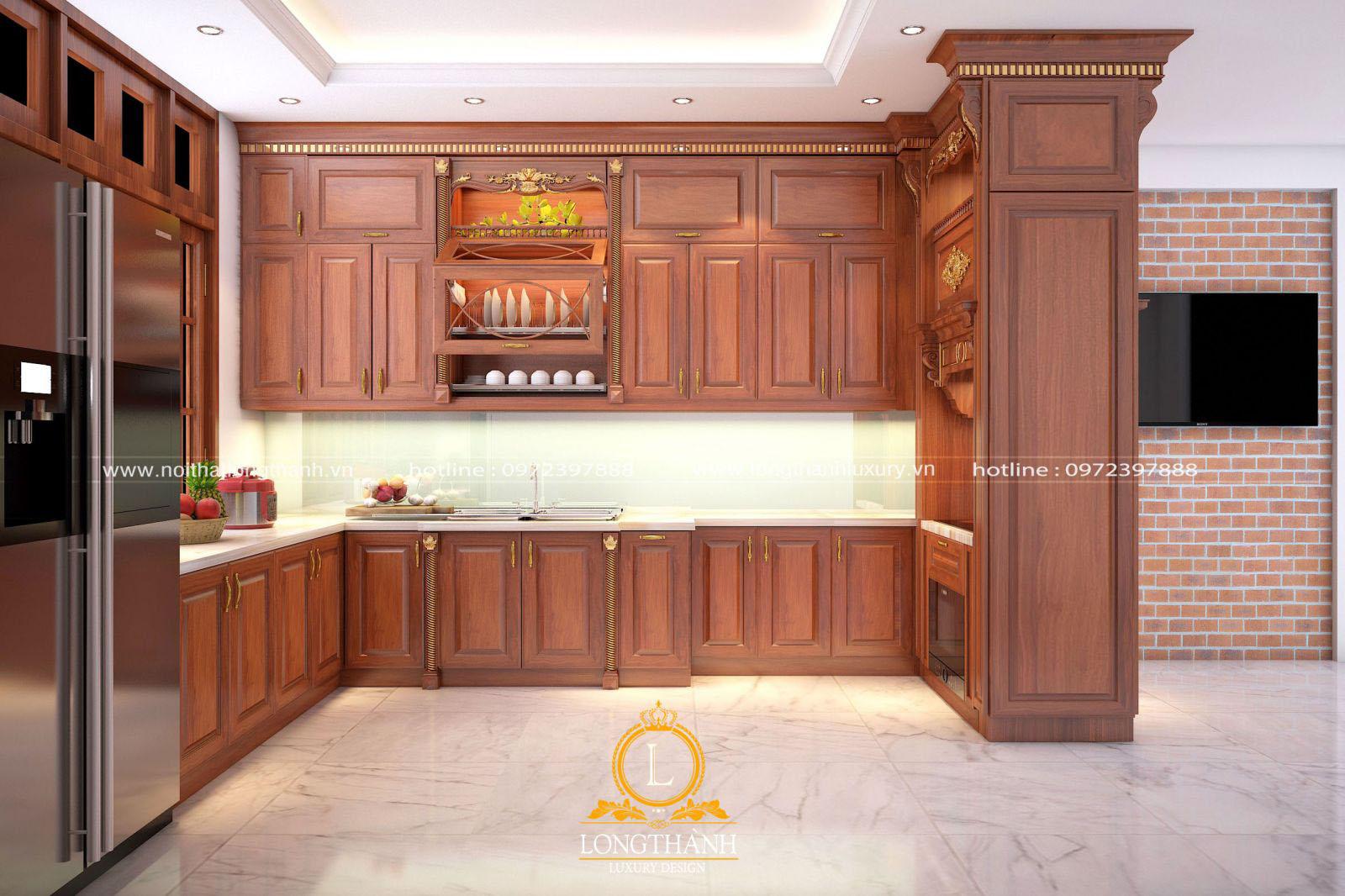 Mẫu thiết kế tủ bếp gỗ Gõ đỏ cao cấp