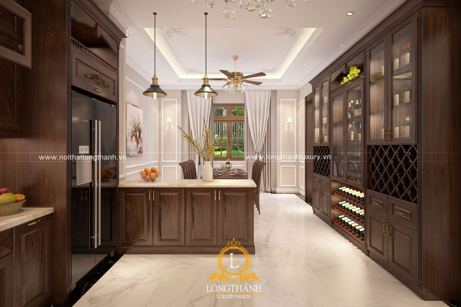 Thiết kế phòng bếp nhà biệt thự đầy đủ tiện nghi