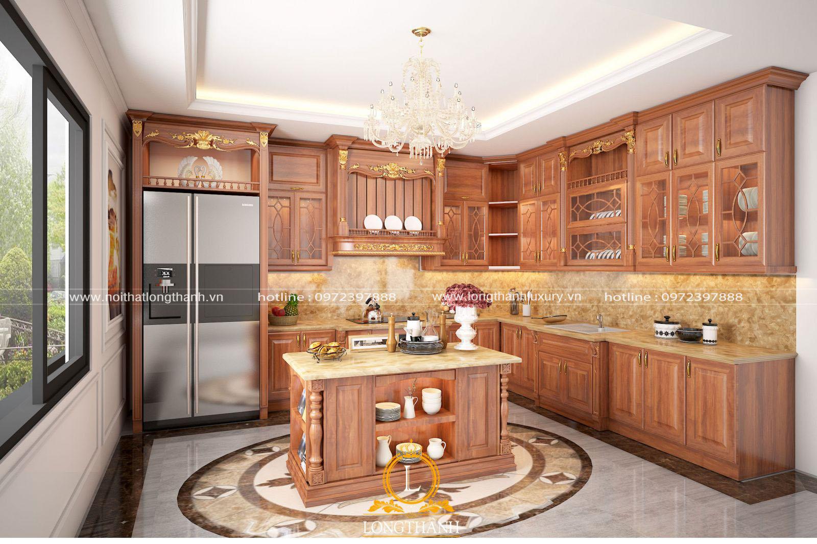 Mẫu thiết kế tủ bếp chữ Lbằng gỗ Gõ tự nhiên