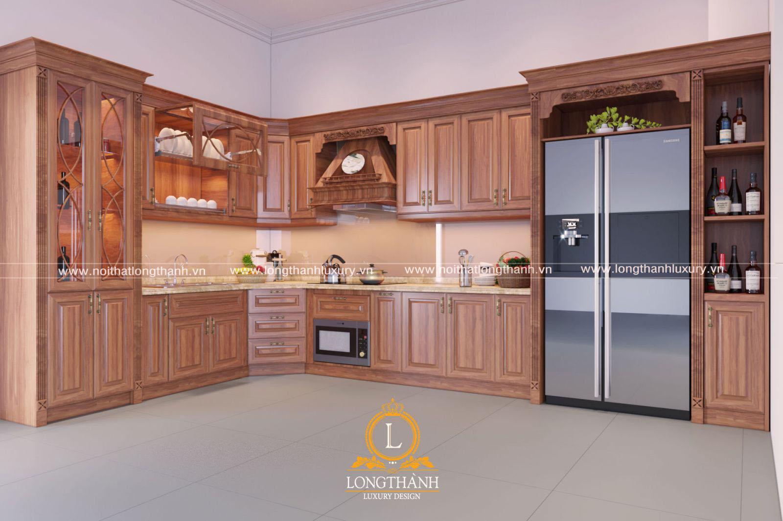 Mẫu tủ bếp làm từ chất liệu gỗ Gõ đỏ Nam Phi màu sắc sắc nét
