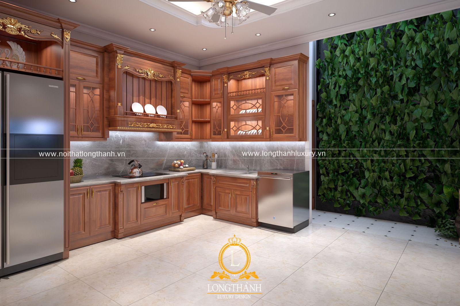 Tủ bếp gỗ Gõ đẹp LT53 góc nhìn thứ 2