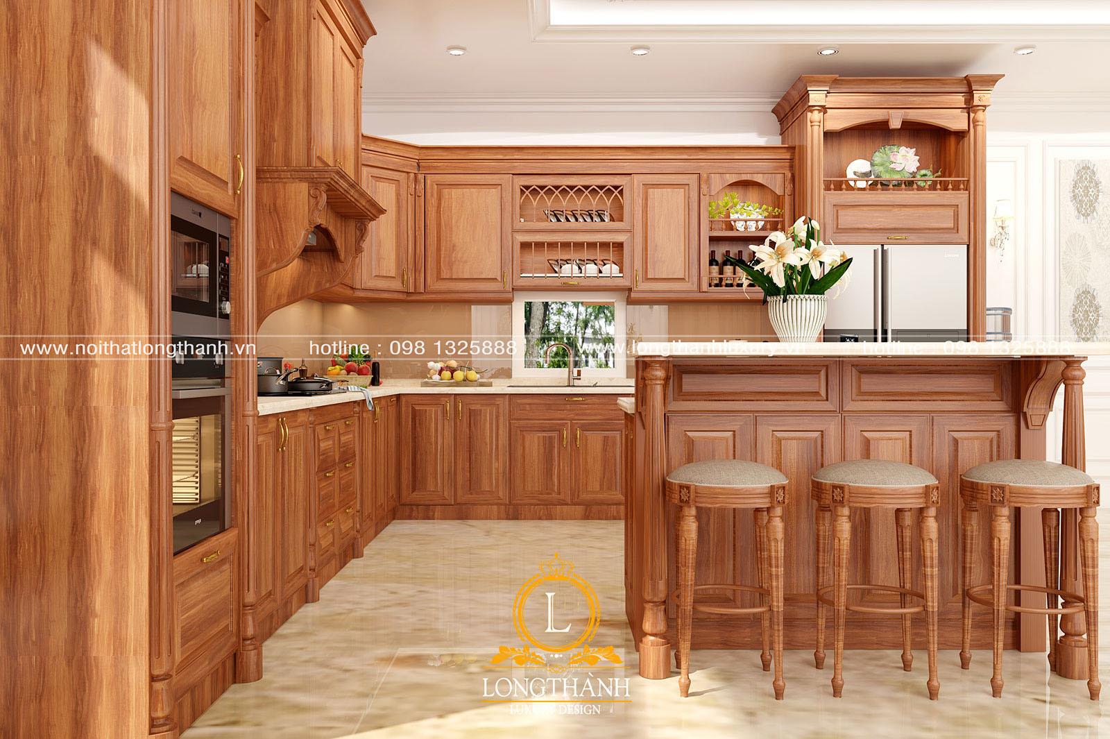 Không gian tủ bếp gỗ Gõ đỏ ấn tượng