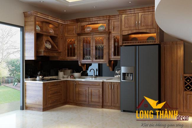 Tủ bếp gỗ Lát LT03