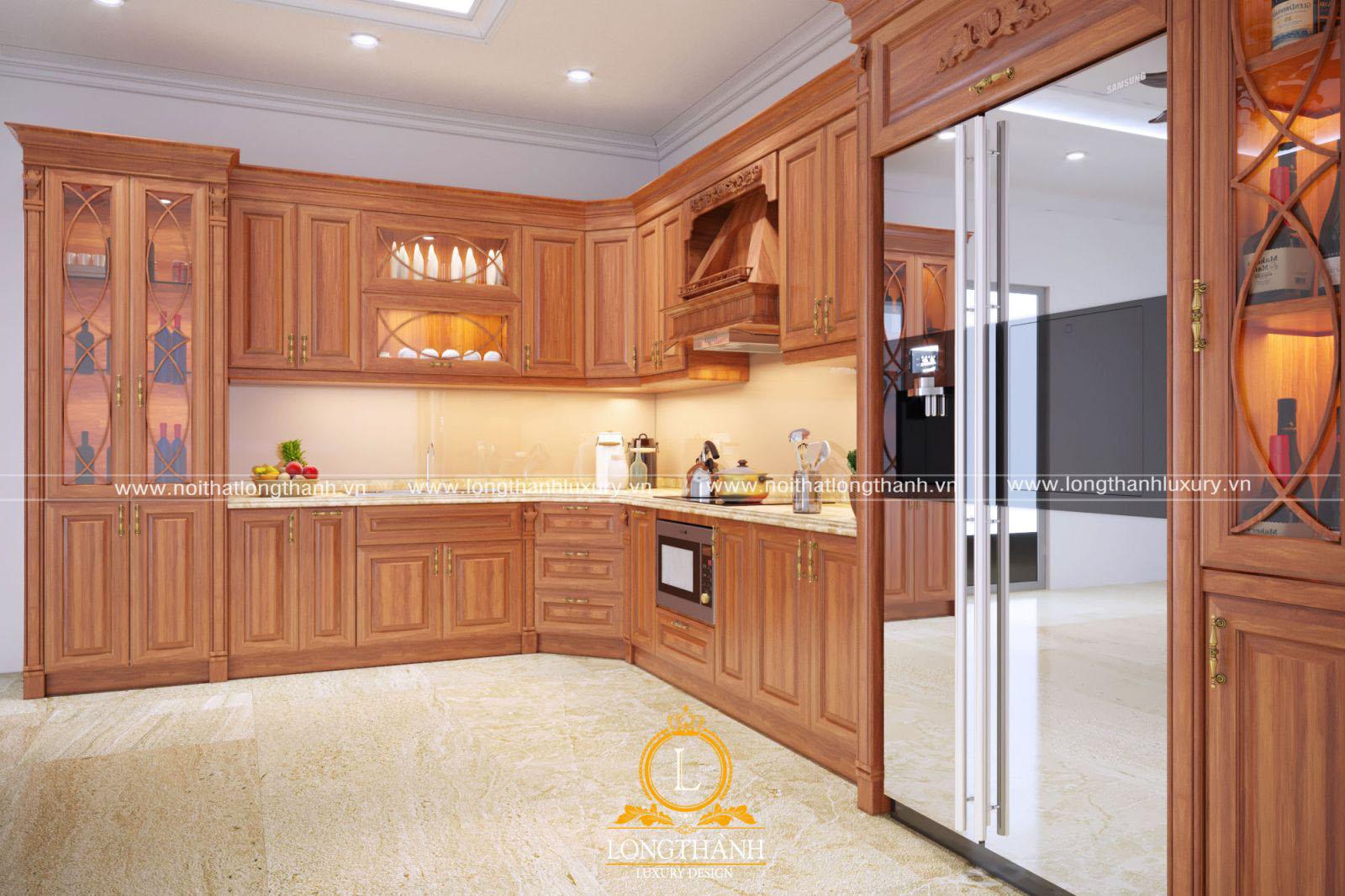 Tủ bếp gỗ Sồi Mỹ đẹp LT39 góc nhìn thứ 2