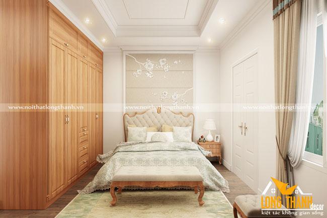 Thơ mộng cùng phòng ngủ tân cổ điển với gỗ Gõ tự nhiên
