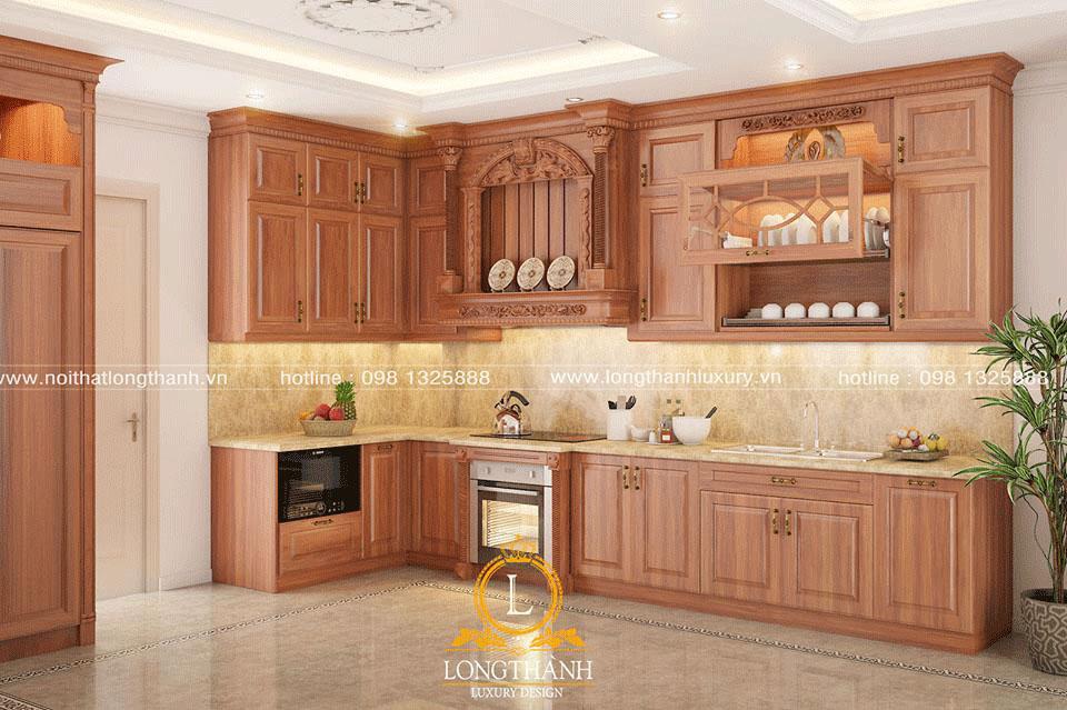Thiết kế tủ bếp gỗ Gõ theo không gian nhà