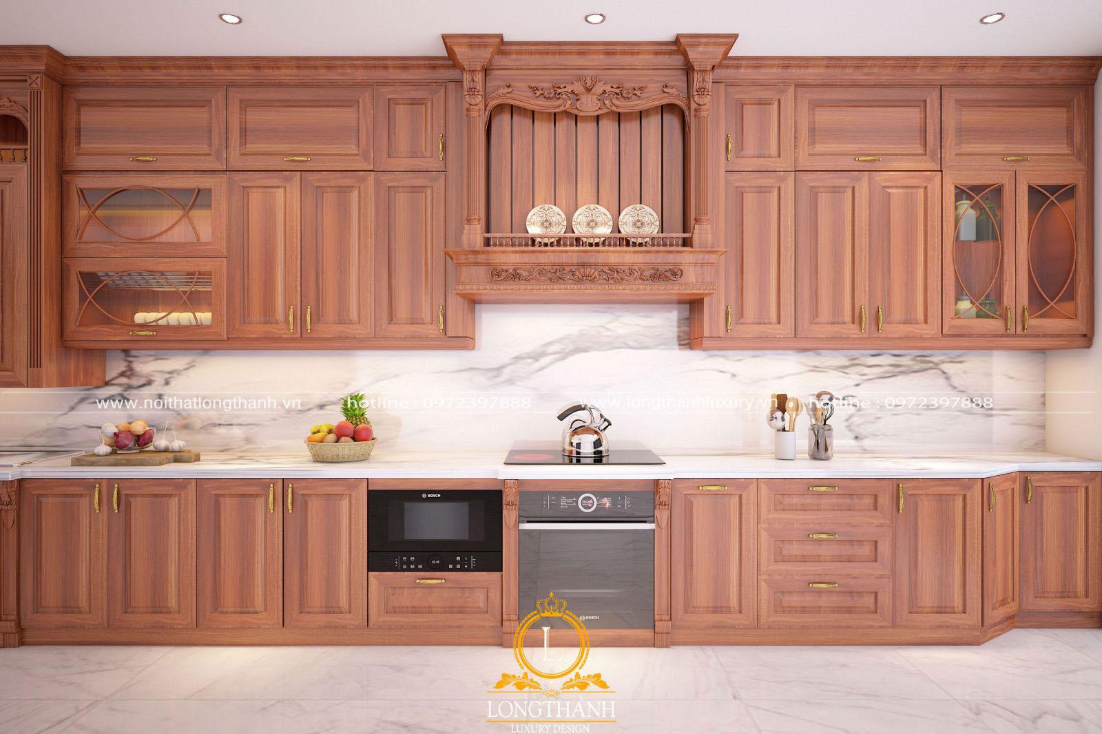 Tổng thể tủ bếp được thiết kế hợp lý phục vụ cho việc nấu ăn của gia chủ