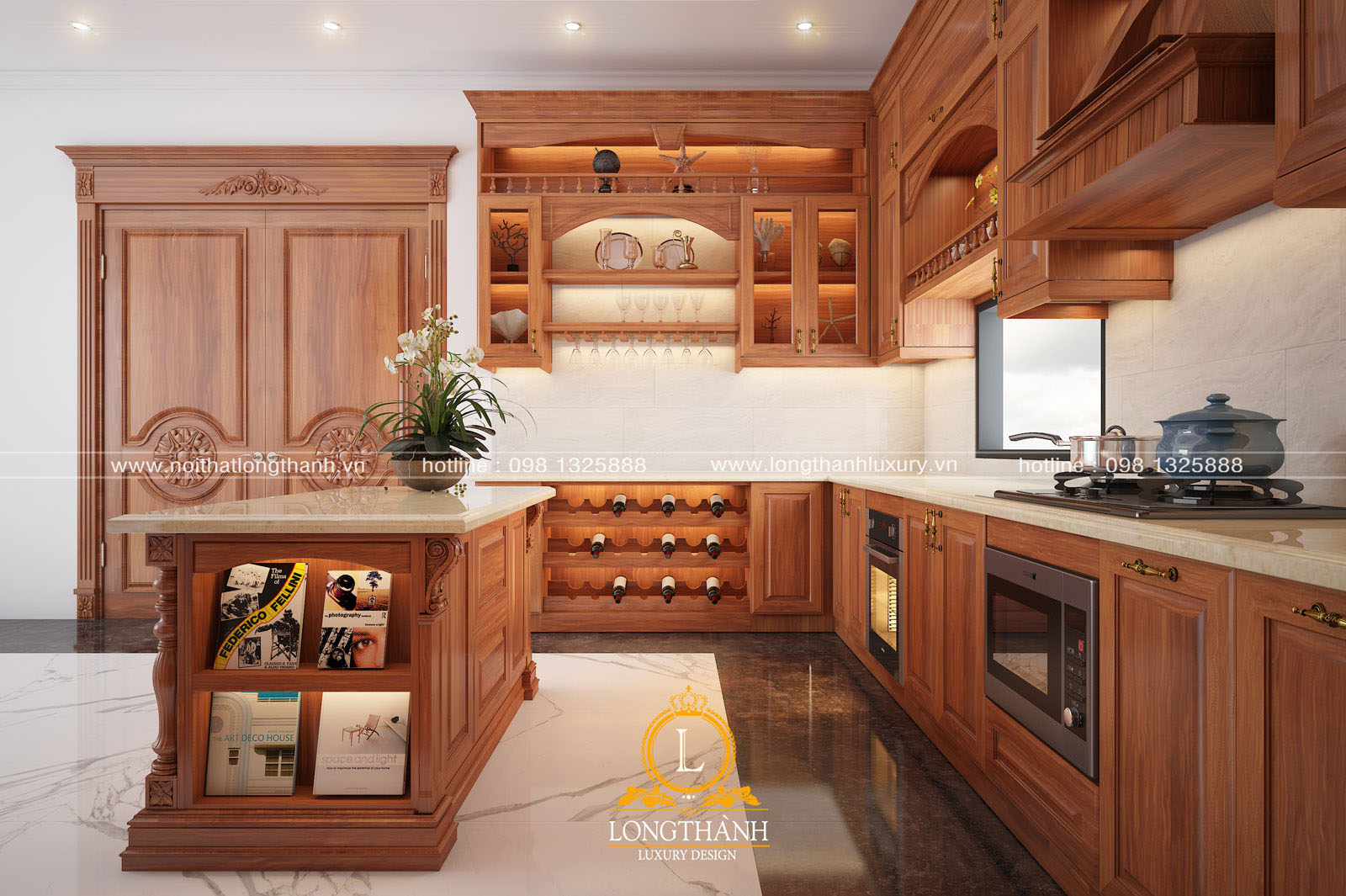 Mẫu thiết kế tủ bếp gỗ tự nhiên đẹp mã số LT 53 góc nhìn thứ 3