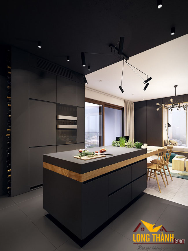 Thiết kế nội thất tủ bếp gỗ acrylic LT11