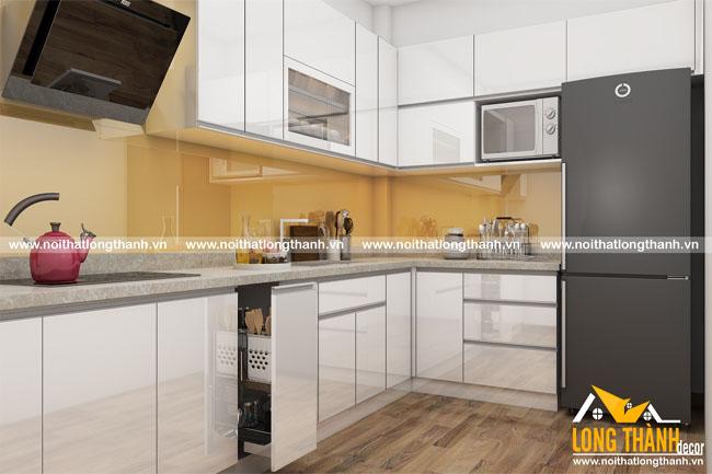 Thiết kế mẫu tủ bếp gỗ Acrylic LT18 năm 2017