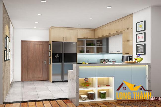 Thiết kế tủ bếp hiện đại bằng gỗ Acrylic năm 2016