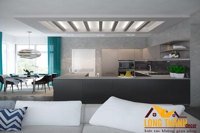 Thiết kế mẫu nội thất tủ bếp gỗ Acrylic LT31 năm 2017