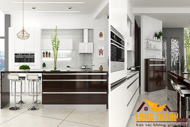 Thiết kế nội thất tủ bếp gỗ Acrylic LT46 năm 2017