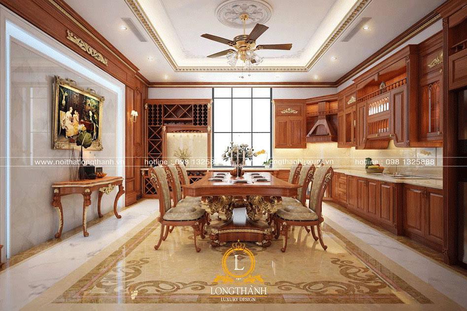 Thiết kế không gian phòng bếp đẹp với nội thất gỗ Gõ sang trọng