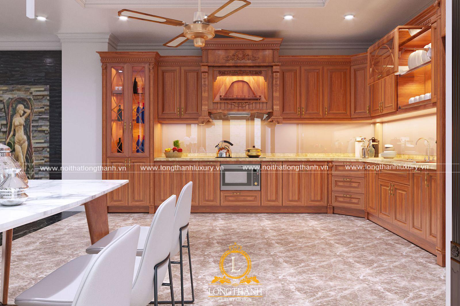 Không gian tủ bếp gỗ tự nhiên sang trọng và tinh tế