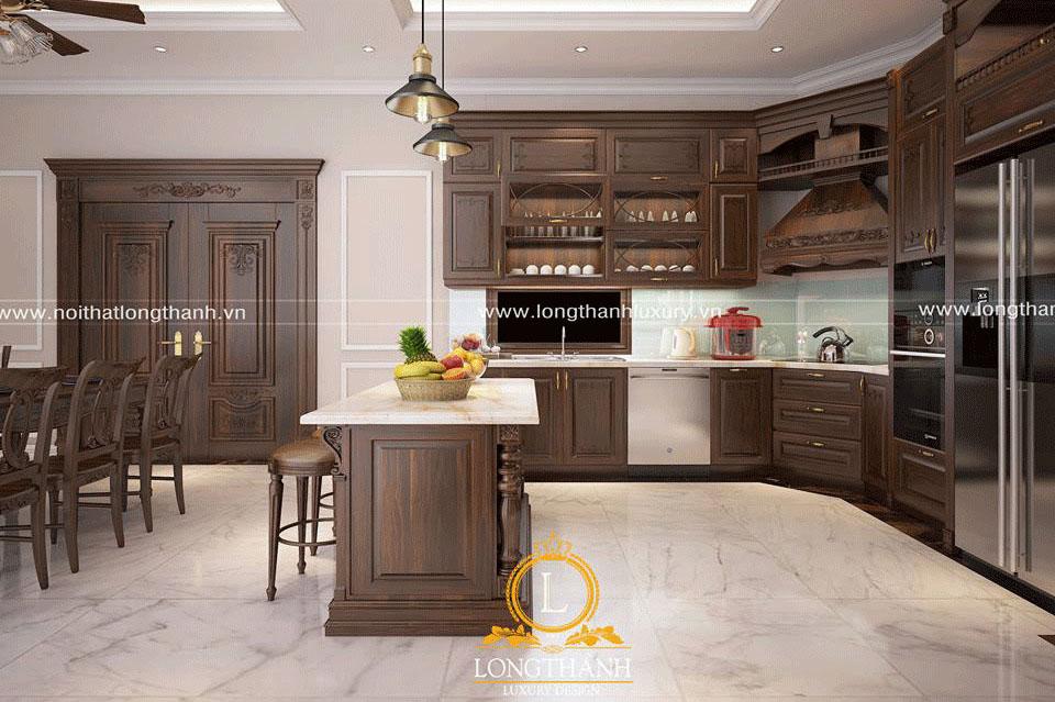 Tủ bếp gỗ Gõ đỏ có độ bền cao