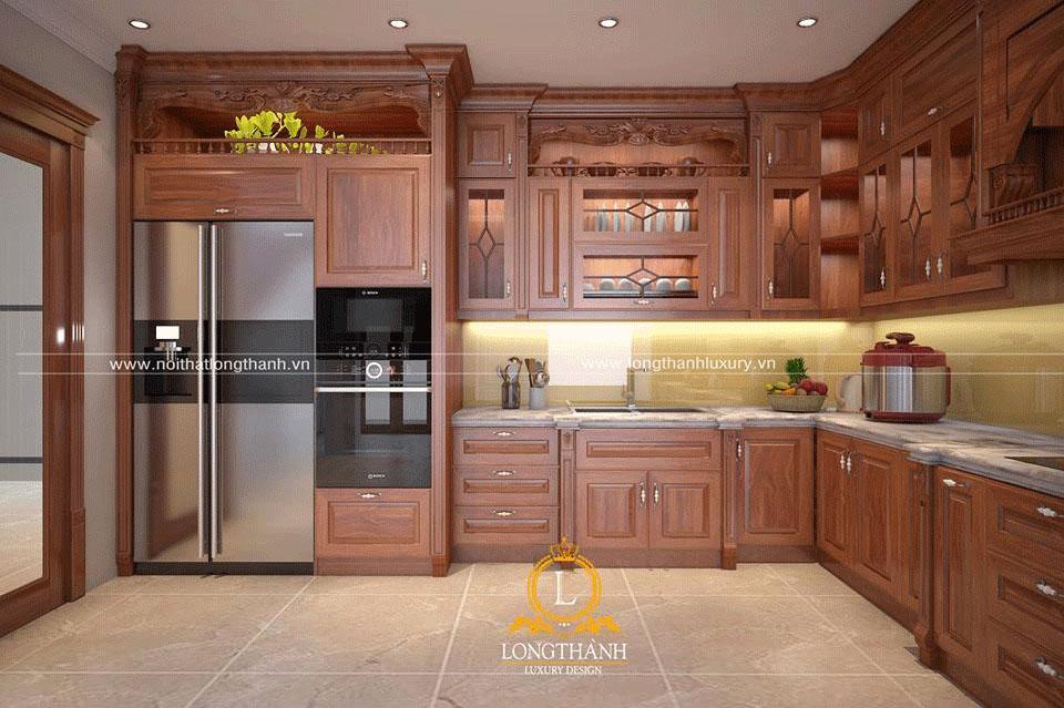 Tủ bếp gỗ Gõ đỏ tân cổ điển