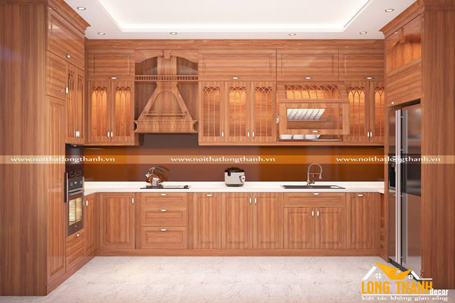 Tủ bếp gỗ Gõ LT 23