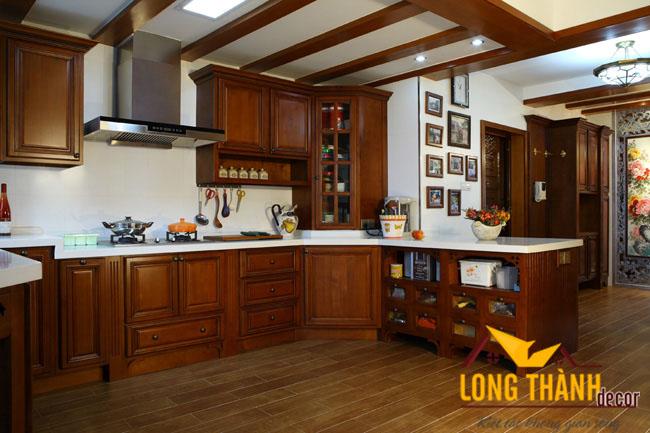 Tủ bếp gỗ Gõ LT02