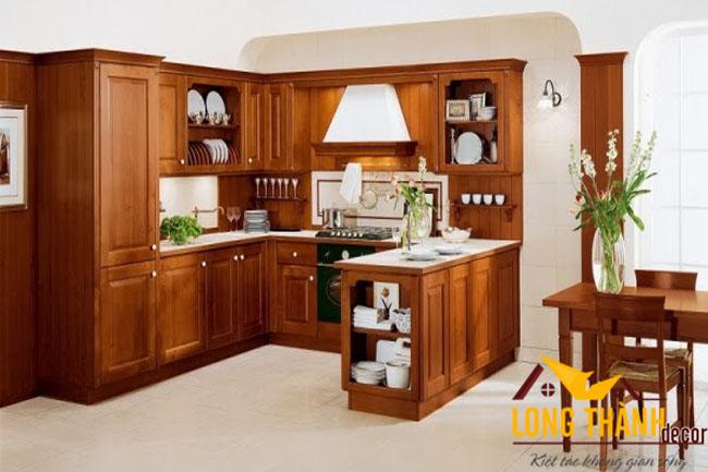 Tủ bếp gỗ Gõ LT06