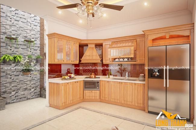 Mẫu thiết kế tủ bếp gỗ Gõ LT19