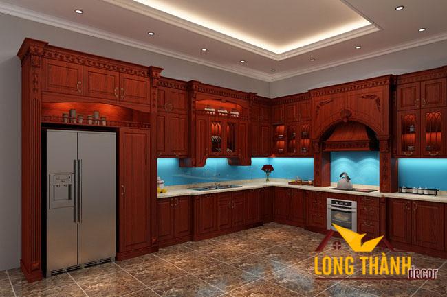 Thiết kế tủ bếp gỗ hương LT03