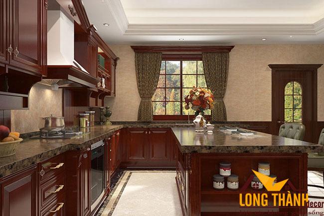 Thiết kế nội thất tủ bếp gỗ Hương LT08