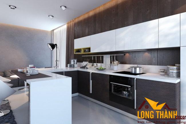 Thiết kế nội thất tủ bếp gỗ Laminate LT24 theo phong cách hiện đại