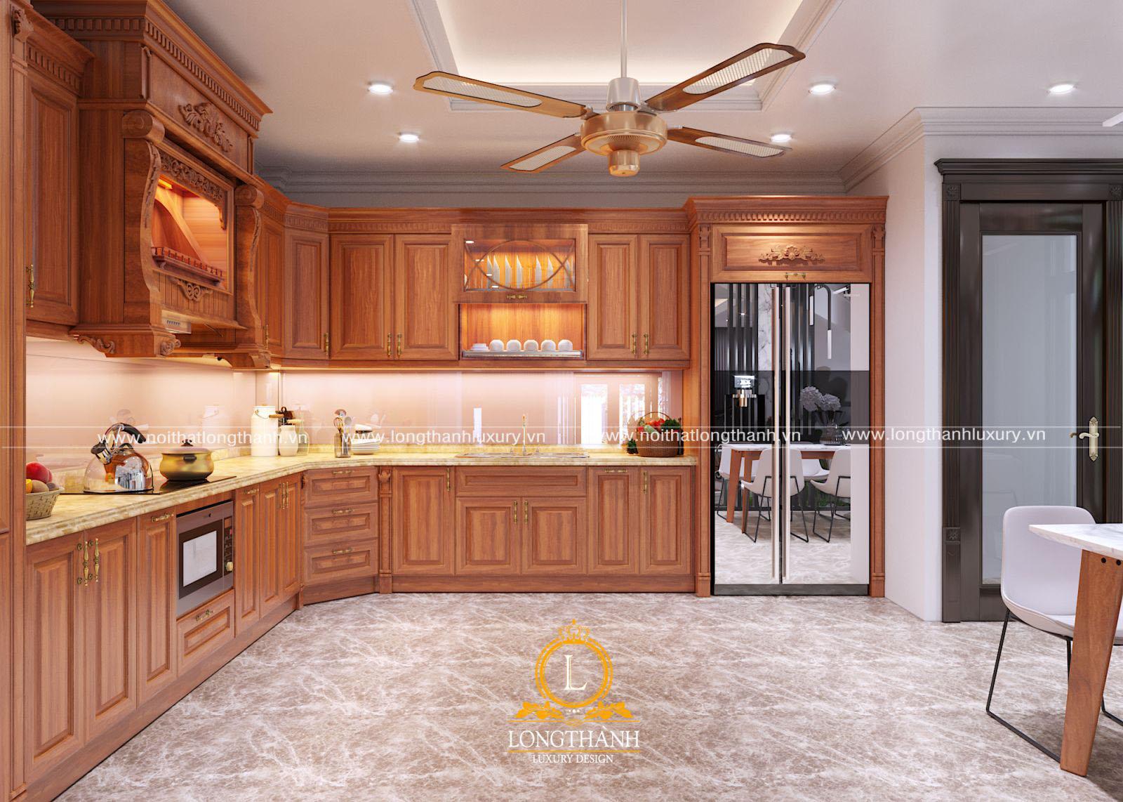Giá thành tủ bếp gỗ sồi mỹ không quá đắt so với mặt bằng chung