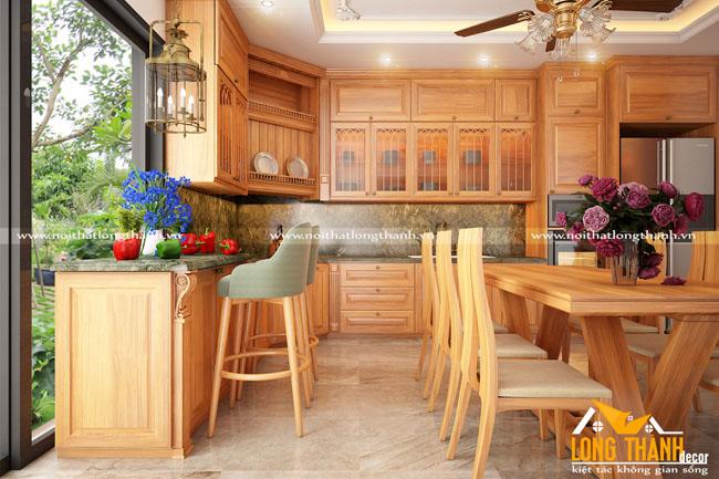 Mẫu tủ bếp gỗ Sồi Mỹ LT02