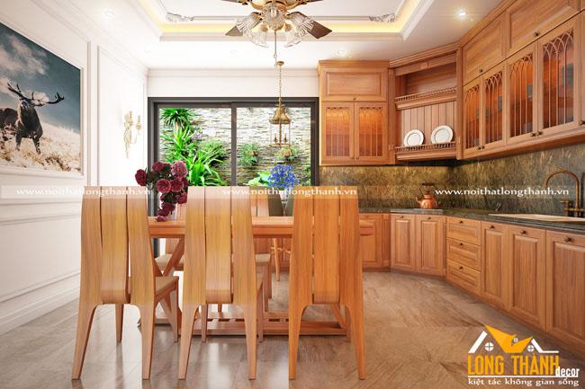 Tủ bếp gỗ Sồi Mỹ LT02