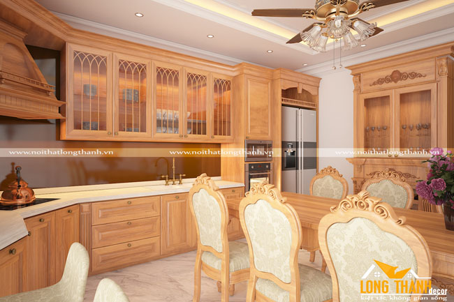 Tủ bếp gỗ Sồi Mỹ LT08