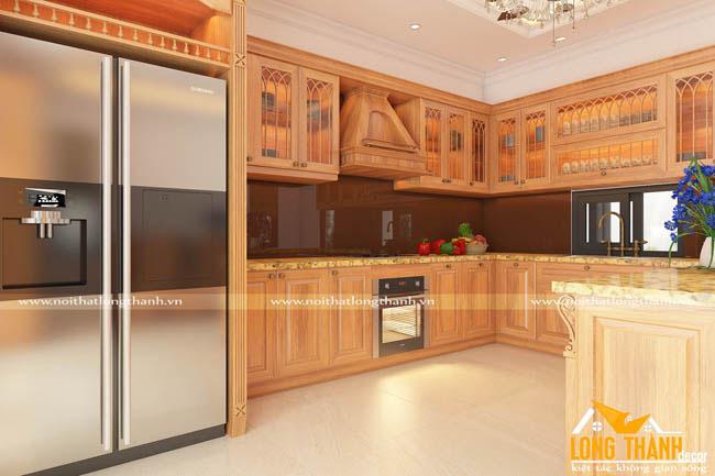 Tủ bếp gỗ Sồi Mỹ LT11