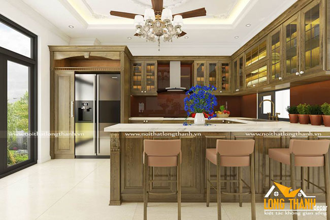 Tủ bếp gỗ Sồi Mỹ LT13