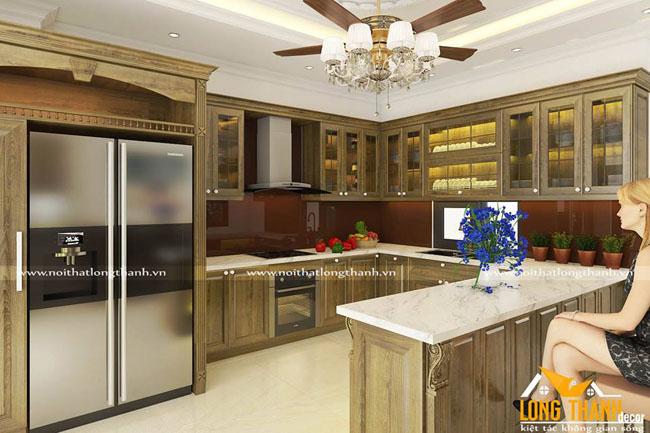 Mẫu tủ bếp gỗ Sồi Mỹ LT13
