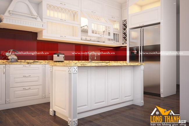 Mẫu thiết kế tủ bếp gỗ Sồi Mỹ LT14
