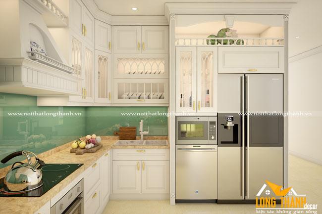 Mẫu thiết kế tủ bếp gỗ Sồi Mỹ LT22