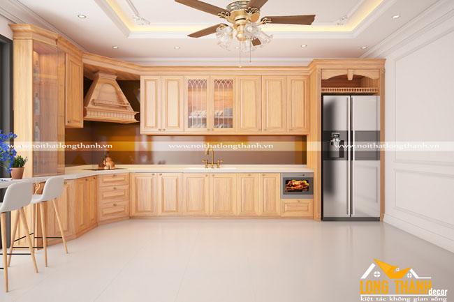 Thiết kế tủ bếp gỗ Sồi Mỹ LT23
