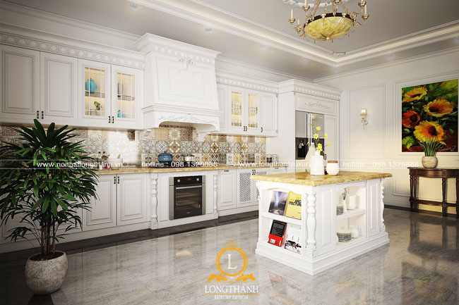 Thiết kế tủ bếp gỗ Sồi Mỹ LT24