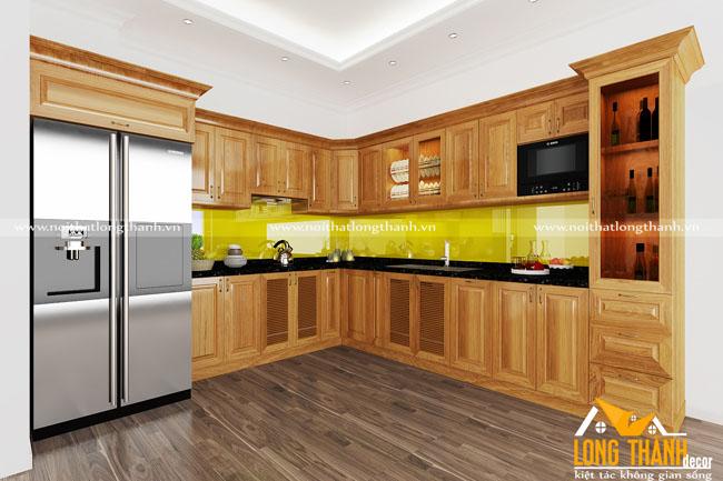 Thiết kế  tủ bếp gỗ sồi Mỹ LT25