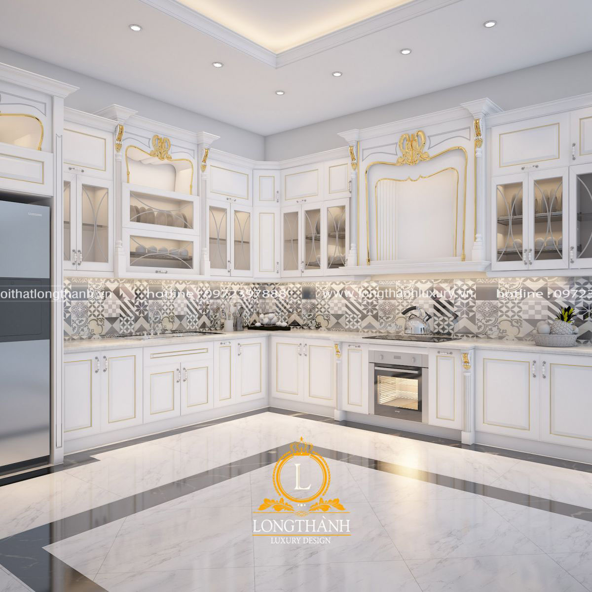 tủ bếp gỗ sồi tự nhiên sơn trắng