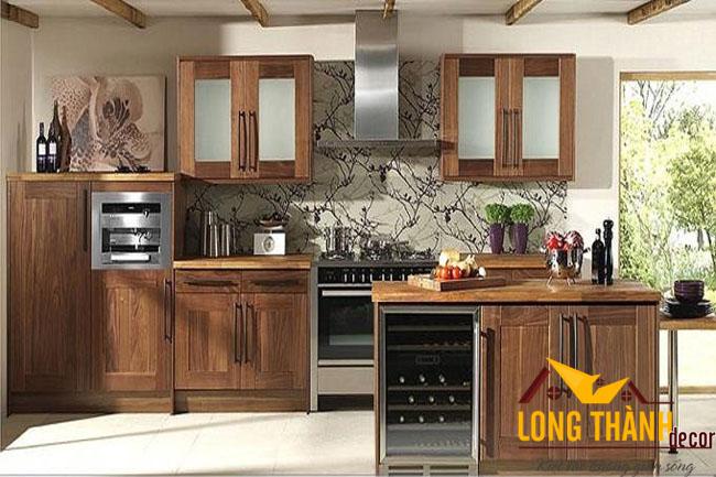 Tủ bếp gỗ tự nhiên óc chó LT03