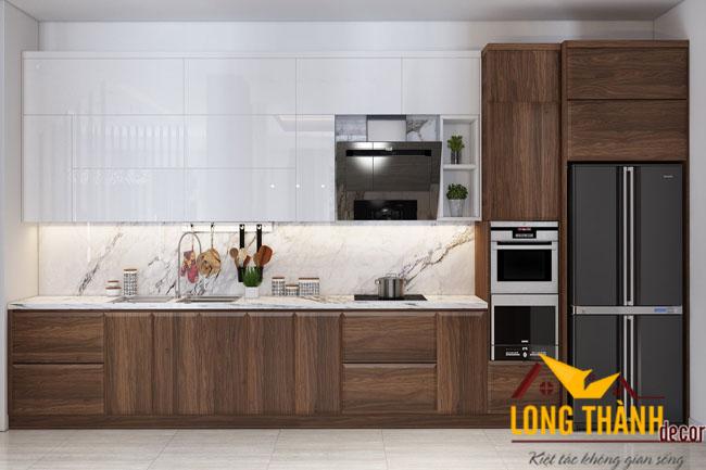 Tủ bếp gỗ tự nhiên Óc chó LT05