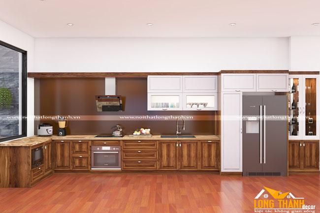 Tủ bếp gỗ tự nhiên Óc chó LT08