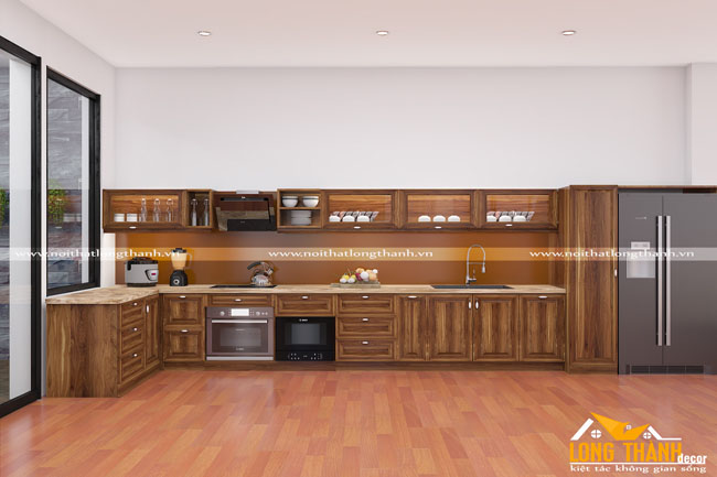 Tủ bếp gỗ tự nhiên Óc chó LT09