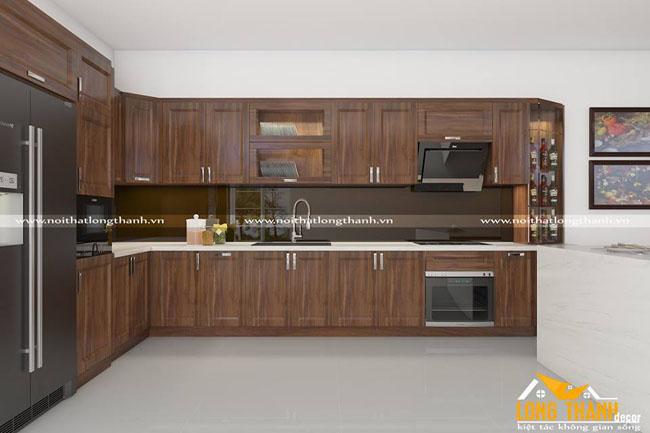 Tủ bếp gỗ tự nhiên Óc chó LT11