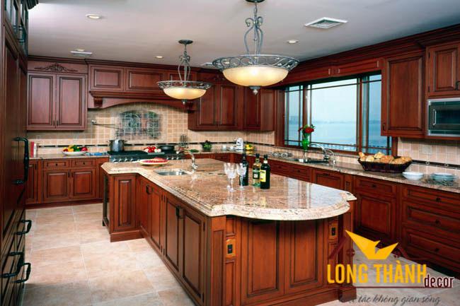 Tủ bếp gỗ tự nhiên sơn PU LT01