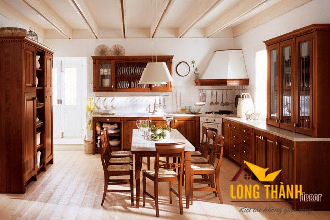 Tủ bếp gỗ tự nhiên sơn PU LT02